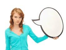 Adolescente con la burbuja en blanco del texto Foto de archivo libre de regalías