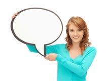 Adolescente con la burbuja en blanco del texto Imagenes de archivo