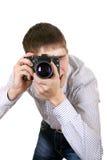 Adolescente con la cámara de la foto Fotos de archivo