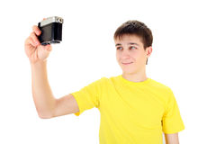 Adolescente con la cámara de la foto Imagen de archivo
