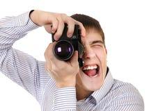 Adolescente con la cámara de la foto Imagenes de archivo