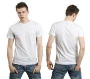 Adolescente con la camisa blanca en blanco Imagen de archivo libre de regalías