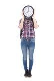 Adolescente con la cara de la cubierta del reloj aislada en blanco Fotografía de archivo libre de regalías