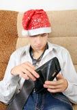 Adolescente con la cartera vacía Fotografía de archivo libre de regalías