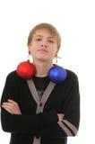 Adolescente con la decoración de la Navidad Fotos de archivo libres de regalías