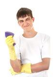 Adolescente con la esponja del baño Imagen de archivo libre de regalías