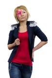 Adolescente con la estrella rosada en la cara Imagen de archivo libre de regalías
