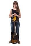 Adolescente con la guitarra Imágenes de archivo libres de regalías