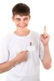 Adolescente con la insignia vacía Fotografía de archivo