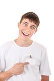 Adolescente con la insignia vacía Foto de archivo libre de regalías