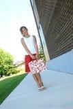 Adolescente con la maleta Imagen de archivo