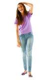 Adolescente con la mano en la pista Fotos de archivo