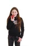 Adolescente con la manzana roja Imagenes de archivo