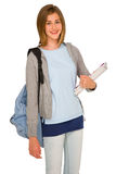 Adolescente con la mochila y los libros Imágenes de archivo libres de regalías