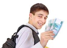 Adolescente con la moneda rusa Imagenes de archivo