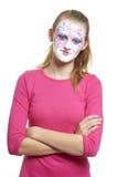 Adolescente con la muchacha de geisha de la pintura de la cara Foto de archivo