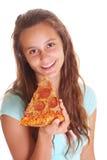 Adolescente con la pizza Fotos de archivo