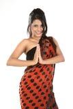 Adolescente con la sari en actitud del namaskaram Foto de archivo