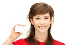 Adolescente con la tarjeta de visita Foto de archivo libre de regalías