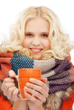 Adolescente con la taza del té o de café Fotografía de archivo