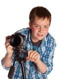 Adolescente con las cámaras digitales Fotografía de archivo libre de regalías
