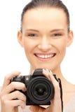 Adolescente con las cámaras digitales Imagen de archivo libre de regalías
