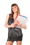 Adolescente con las carpetas Imágenes de archivo libres de regalías