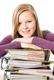 Adolescente con las carpetas de archivos Foto de archivo