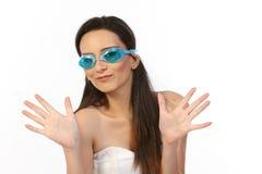 adolescente con las manadas azules Imagen de archivo libre de regalías