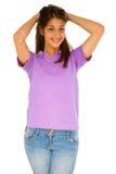 Adolescente con las manos en la pista Foto de archivo libre de regalías