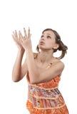 Adolescente con las manos para arriba Fotografía de archivo libre de regalías