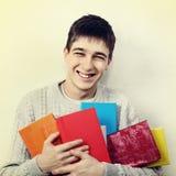Adolescente con libros Imagenes de archivo