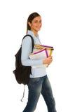 Adolescente con lo zaino ed i libri Fotografia Stock Libera da Diritti