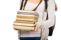 Adolescente con lo zaino ed i libri Fotografia Stock