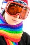 Adolescente con los anteojos del esquí Imagen de archivo