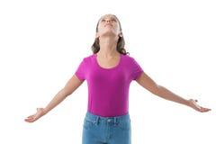 Adolescente con los brazos extendidos Fotografía de archivo libre de regalías
