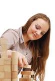 Adolescente con los cubos de madera Fotografía de archivo libre de regalías