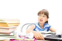 Adolescente con los libros en un fondo blanco, Fotografía de archivo libre de regalías