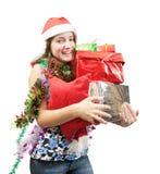 Adolescente con los regalos de la Navidad Foto de archivo libre de regalías