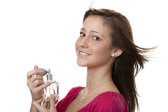 Adolescente con perfume fotografía de archivo