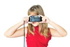 Adolescente con photocamera viejo Fotos de archivo libres de regalías