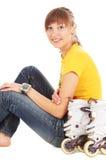 Adolescente con rollerblades Foto de archivo libre de regalías