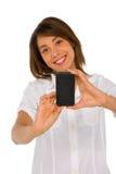 Adolescente con smartphone Fotos de archivo