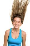 Adolescente con su pelo que flota en el aire Imágenes de archivo libres de regalías