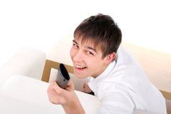 Adolescente con teledirigido Fotos de archivo
