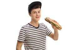 Adolescente con un bocadillo Foto de archivo libre de regalías