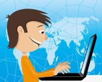 Adolescente con un computer portatile royalty illustrazione gratis
