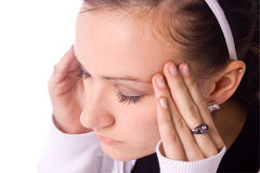 Adolescente con un dolor de cabeza Foto de archivo libre de regalías