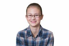 Adolescente con un'espressione divertente sul suo fronte Fotografia Stock