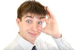 Adolescente con un ojo ancho Imagen de archivo libre de regalías